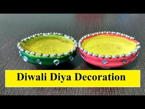 Diwali diya decoration ideas at home for Diya decoration youtube