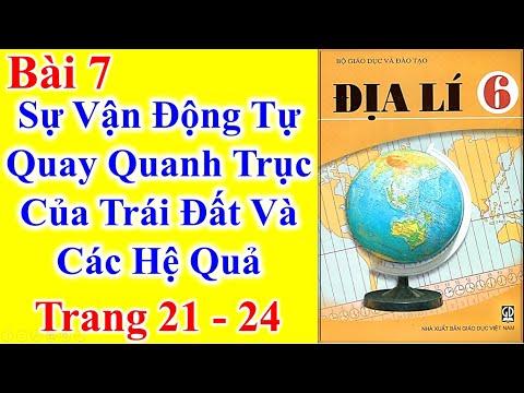 Địa lý Lớp 6 Bài 7 – Sự vận động tự quay quanh trục của trái đất và các hệ quả - trang 21 - 24