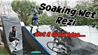 ATTEMPTING TO RIDE SCOOTERS ON SOAKING WET REZI!