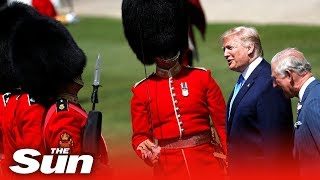 President Trump inspects the troops at Buckingham Palace | UK visit