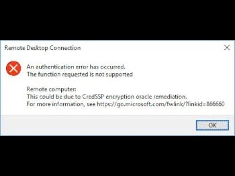 credssp encryption oracle remediation remote desktop