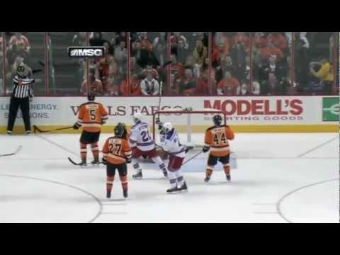 Ryan Callahan hat-trick vs the Flyers   02/11/2012 [HD]