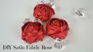 DIY Fabric Flower Tutorial: How to create a satin fabric rose.