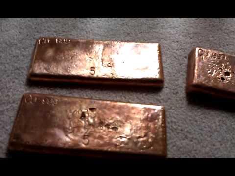 Copper Ingots Bars Bullion 5 8 25 Pound Bars 999cu