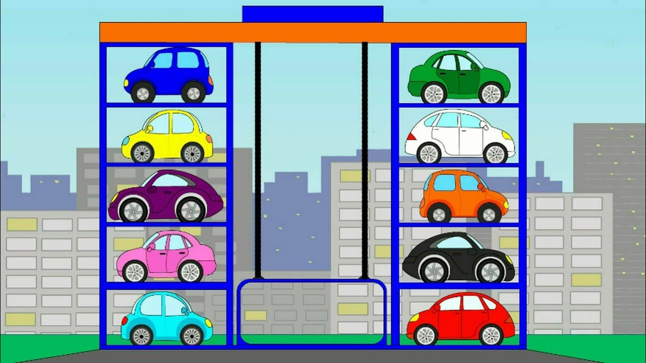 Image result for car in parking garage cartoon