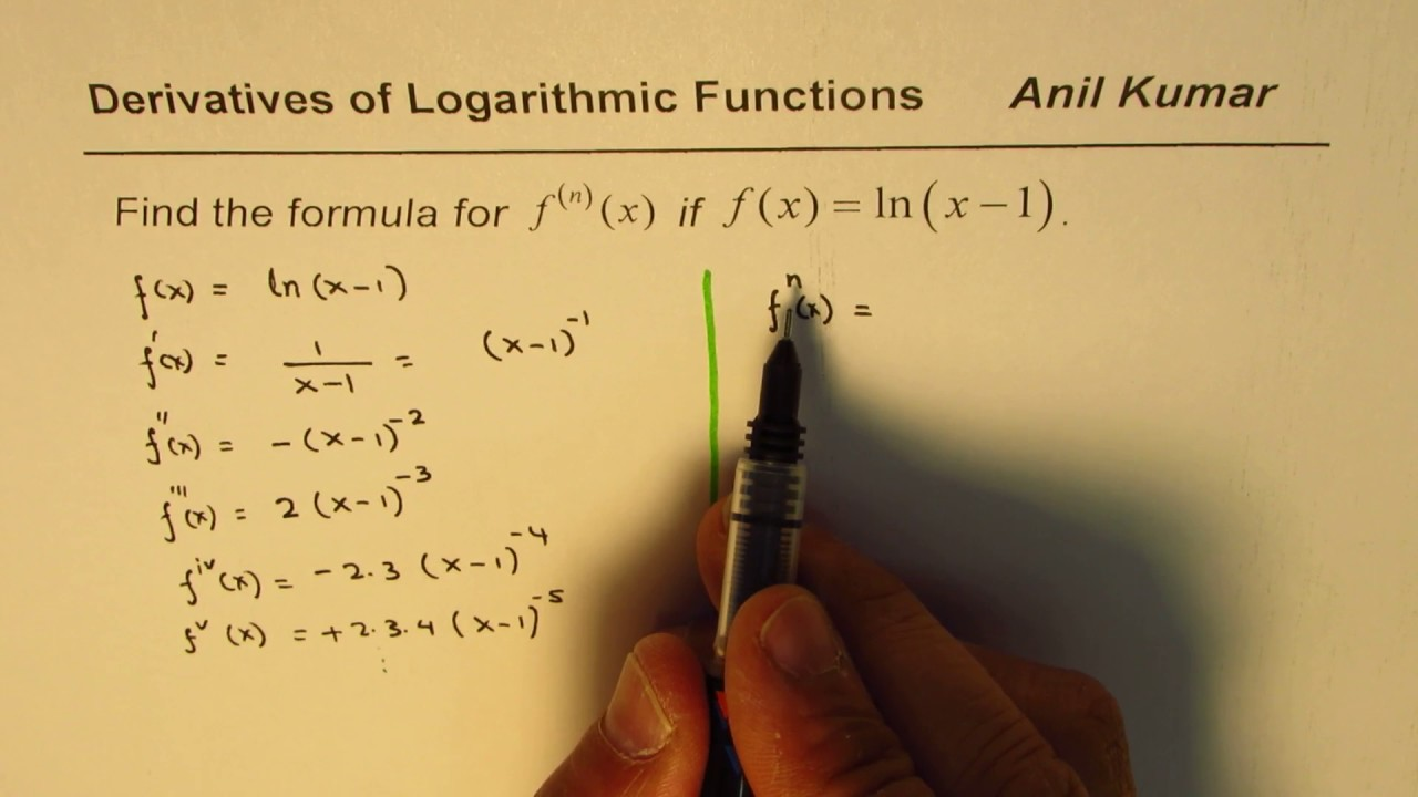 Formula for nth derivative of logarithmic function lnx 1 youtube formula for nth derivative of logarithmic function lnx 1 sciox Choice Image