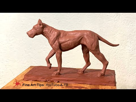 HOW TO SCULPT A GREAT DANE DOG - Modeling In Clay - Narrated