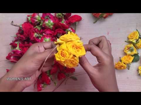 How to string rose decoration flowers | rose flower decoration ideas