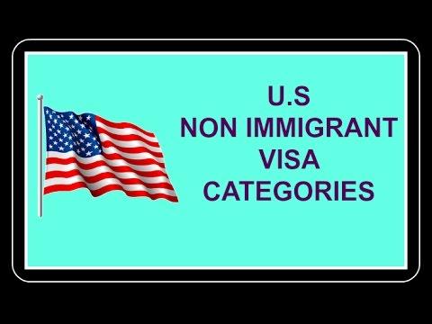 U.S Non Immigrant Visa Categories