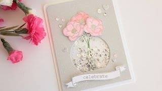 Wedding shaker card with partial die cutting