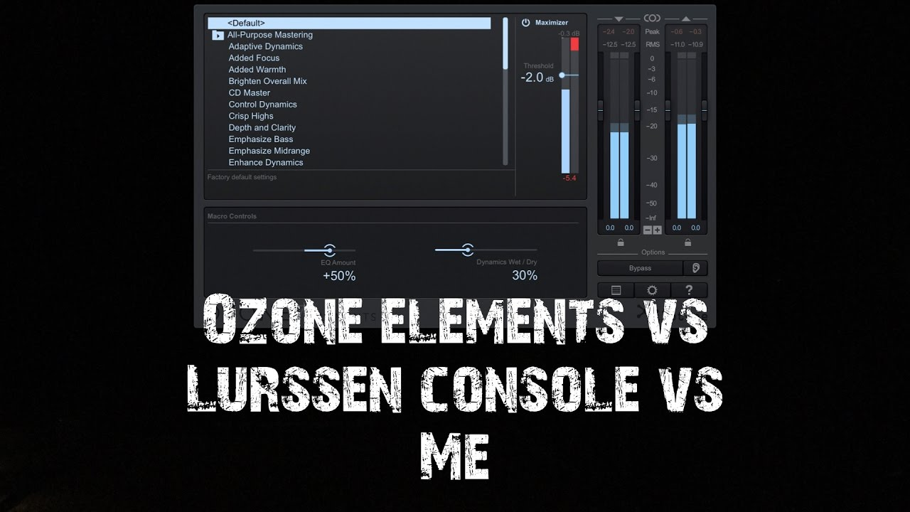 izotope ozone elements vs ik lurssen mastering vs my home mastering youtube. Black Bedroom Furniture Sets. Home Design Ideas