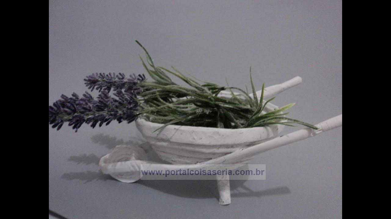 artesanato mini jardim:Mini Carrinho de Jardim, feito com rolinhos de jornal – YouTube