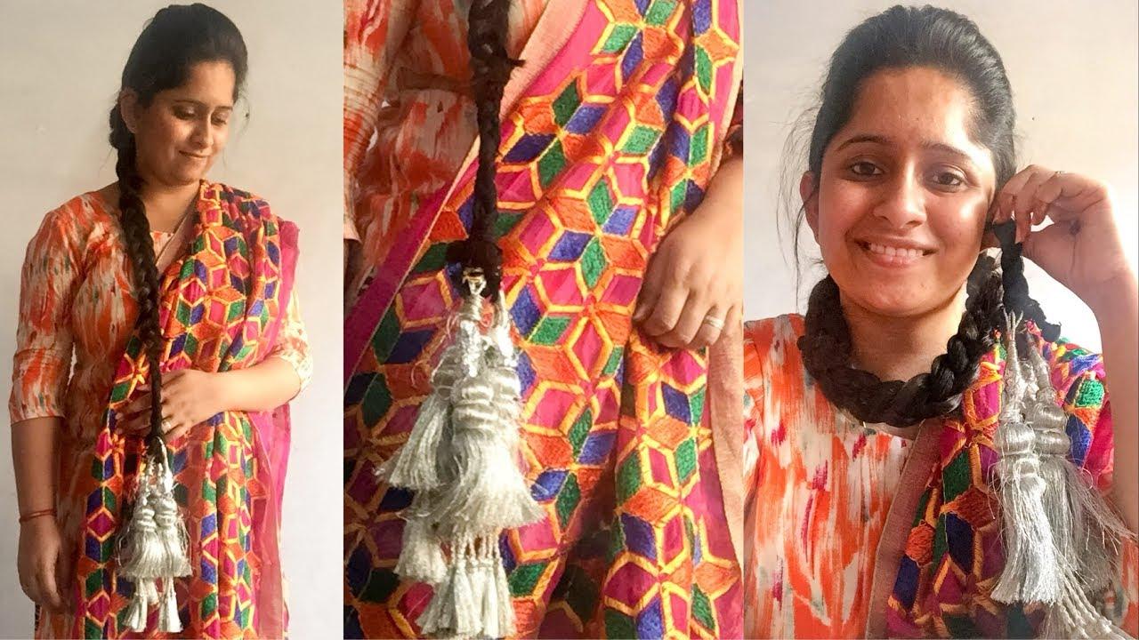 how to wear a paranda/traditional punjaban hairstyle/paranda tutorial