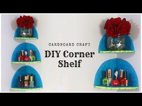 DIY Cardboard Corner Shelf | Room Organizer Rack | DIY Floating Shelves