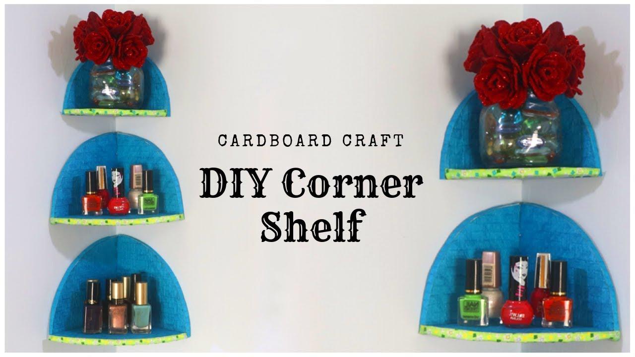 Diy Cardboard Corner Shelf Room Organizer Rack Diy Floating Shelves