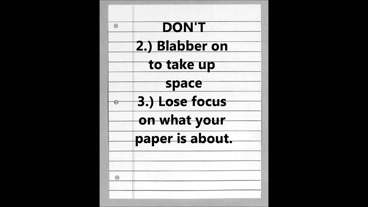 The Do's and Don'ts to Writing an Essay - YouTube