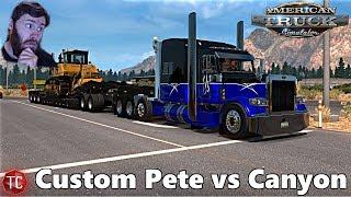 American Truck Simulator MODS: West Coast Customs Pete 389 Hauling Bulldozer VS CLIFF ROAD!