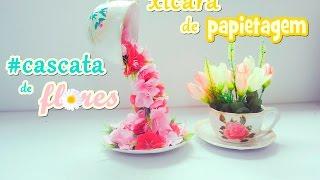 Xícara de papietagem – cascata de flores