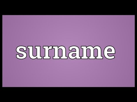 Surname Meaning