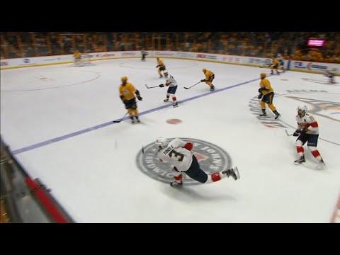 Pekka Rinne beaten by Yandle shot from neutral zone