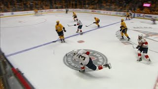 Pekka Rinne beaten by Yandle shot from neutral zone