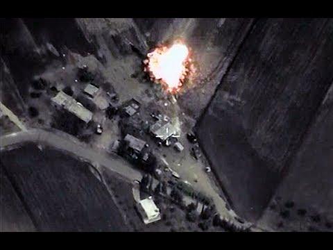 Видео авиаудара ВКС России по колонне боевиков ИГИЛ под сирийской Раккой