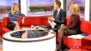 Louise Minchin Long Legs In Short Skirt & Sheer Tights With Tight Top ft Holly Hamilton. 7