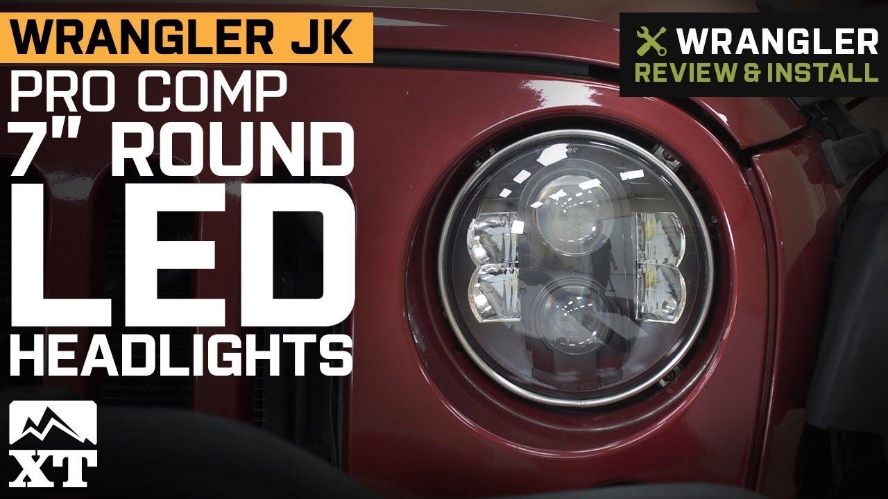 pro comp jeep wrangler 7 in round led headlights 76402p 07 18 jeep wrangler jk  [ 1280 x 720 Pixel ]