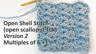 In this video I show you how to crochet a variation of the open shell or open scallop stitch, crocheting to multiples of 6 +1.   Chart patterns are available on my website at: www.happyberry.co.uk  Make sure to tag your creations on Instagram @happyberrycrochet  www.instagram.com/happyberrycrochet   Please do not share, copy, write out or translate this video without permission. Copyright and all rights reserved to HappyBerry.