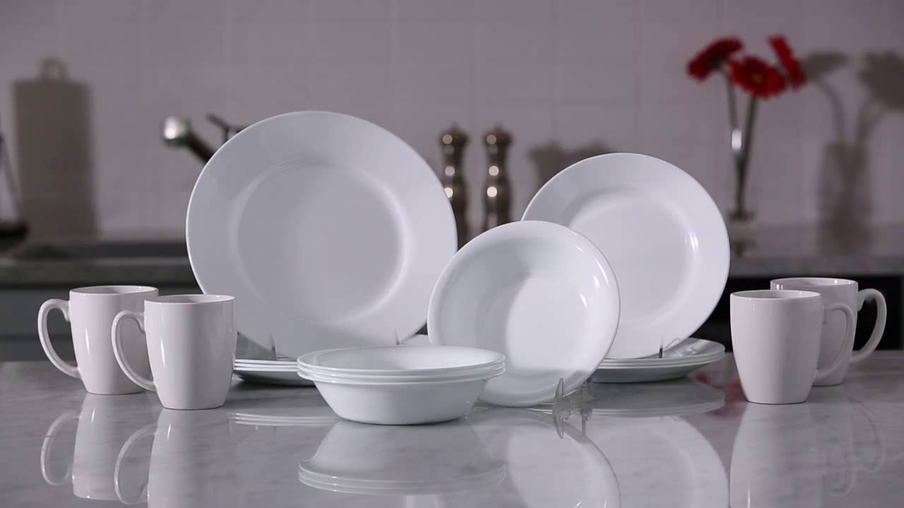 & Corelle Dazzling White Unbreakable Dinnerware - YouTube
