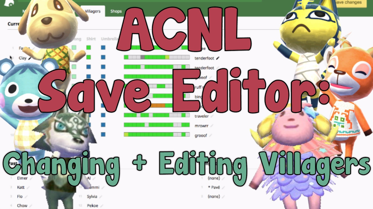 ac nl save editor how to change edit any villager youtube