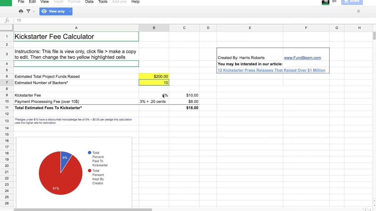 Photo license fee calculator - Kickstarter Fees A Calculator For Costs
