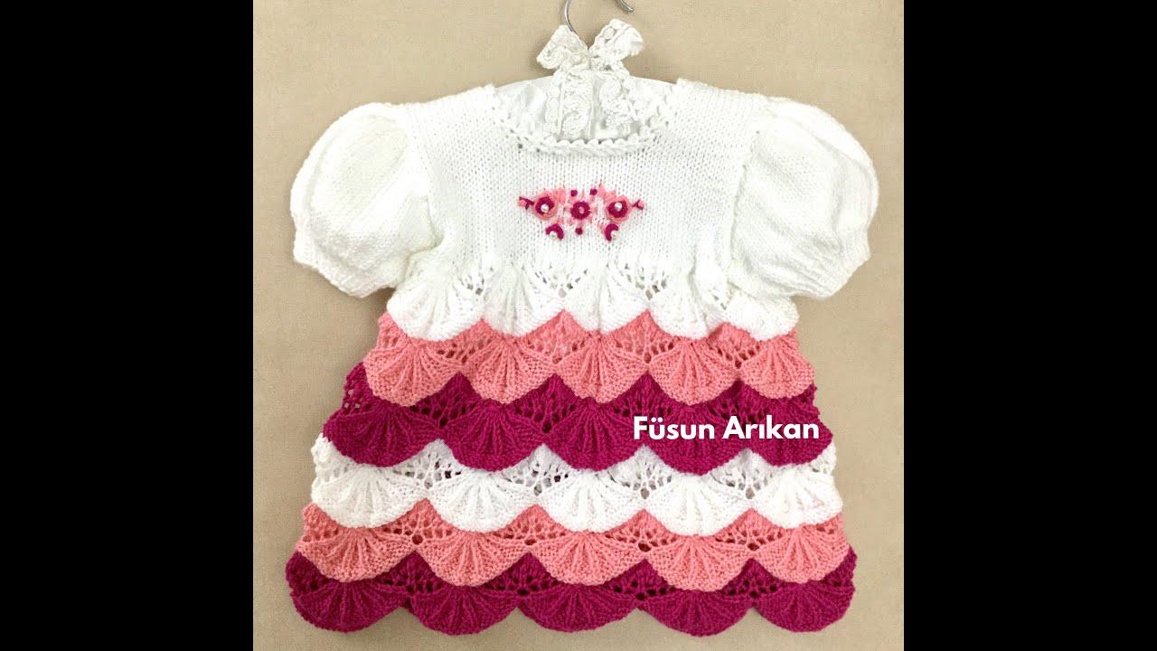 LİMON DİLİMİ ÖRGÜ BEBEK ELBİSESİ / KNITTED BABY DRESS
