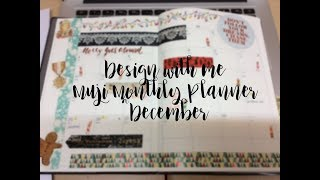 Design with me Muji Monthly Planner無印月間~December 12 月份(calligraphy藝術字, masking tape紙膠帶, stickers貼紙)