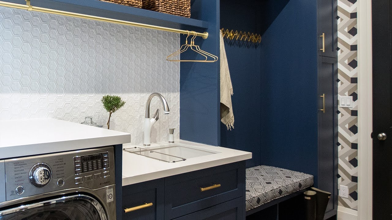 Makeover A Bold Navy Laundry Room Mudroom Youtube