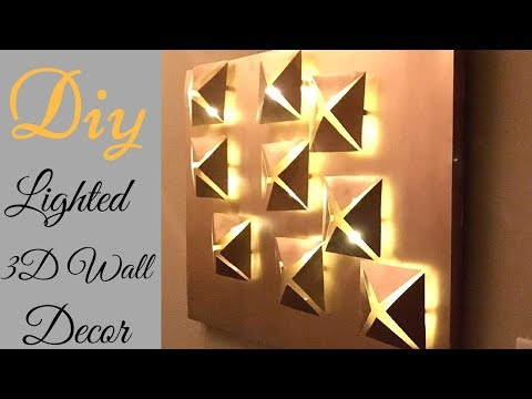 Diy 3D Metallic Wall Decor with Lighting Using Cereal Boxes!