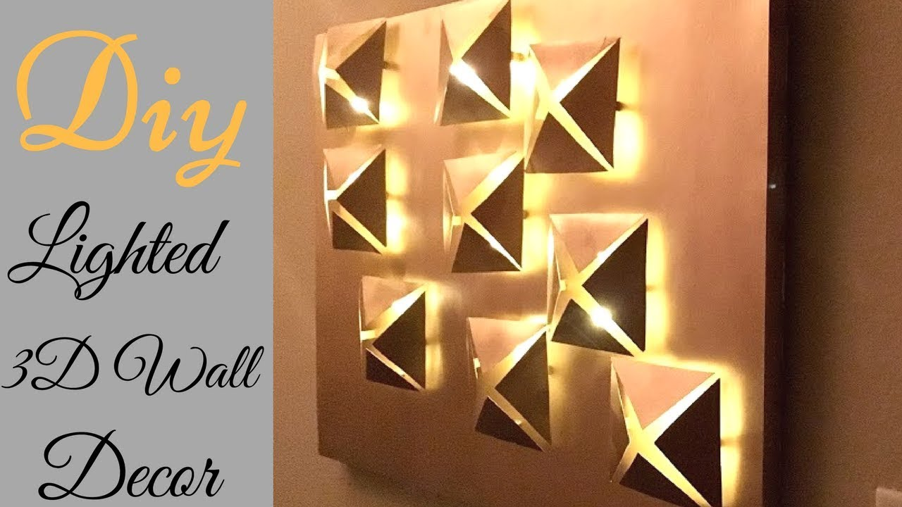 3d Wall Decor Diy 3d Metallic Wall Decor With Lighting Using Cereal Boxes