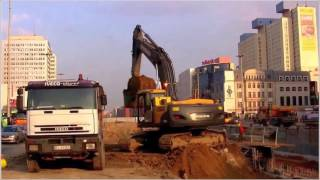 Excavators, dozers and dump-trucks at work sound and noise - 4 hours