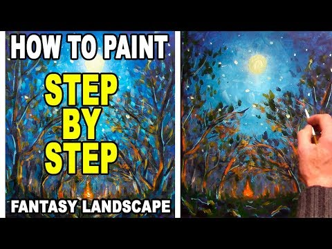 Campfire Bonfire in night forest – How to Acrylic Painting – Fantasy landscape art nature – Rybakow