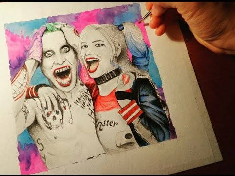 Drawing the joker and Harley quinn (SUICIDE SQUAD) 🎨🖌 - YouTube