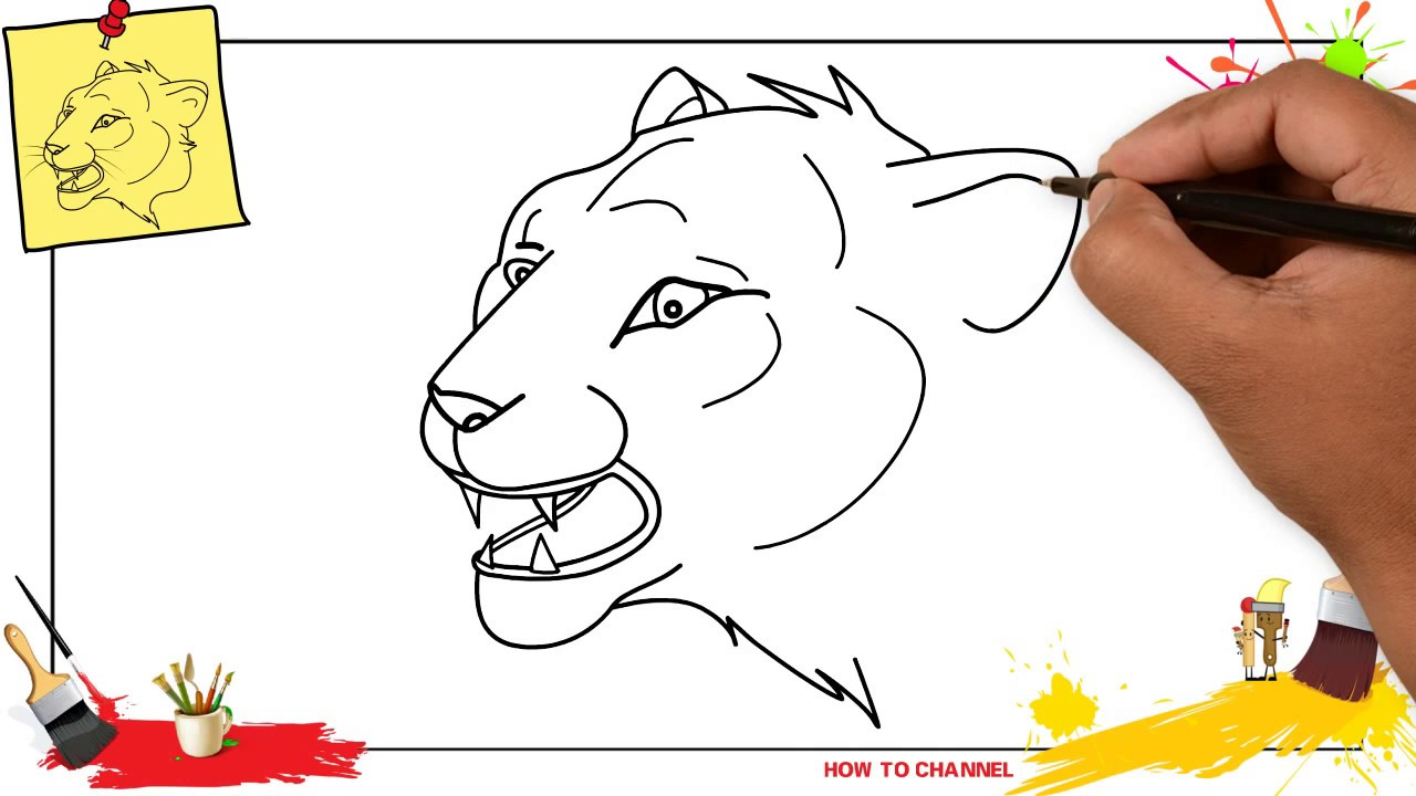 How To Draw A Lion Face Easy Slowly Step By Step For Kids And