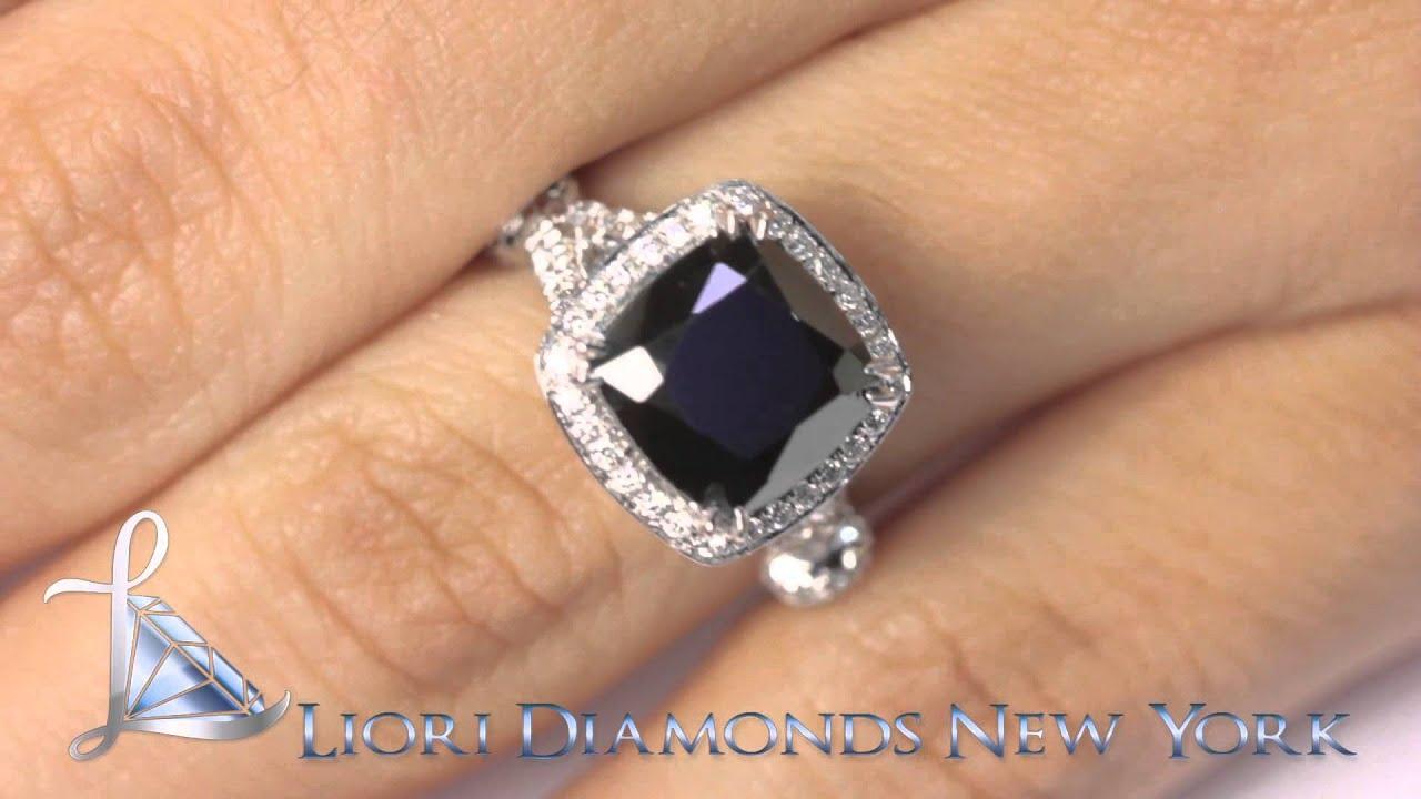 BDR SOLD 053 4 08 Carat Certified Cushion Cut Black Diamond Ring