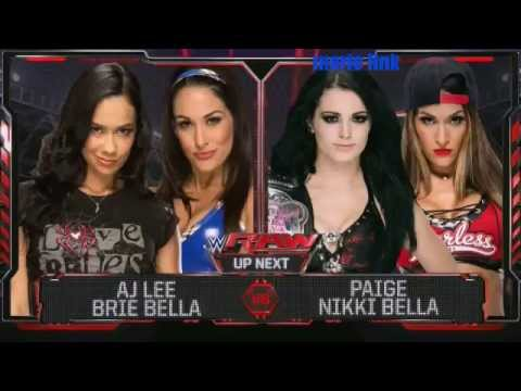 WWE Raw Aj lee & Brie Bella vs Paige & Nikki Bella 9/15/14 thumbnail