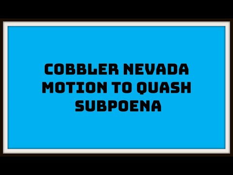 Cobbler Nevada case tested in California Motion to Quash ISP