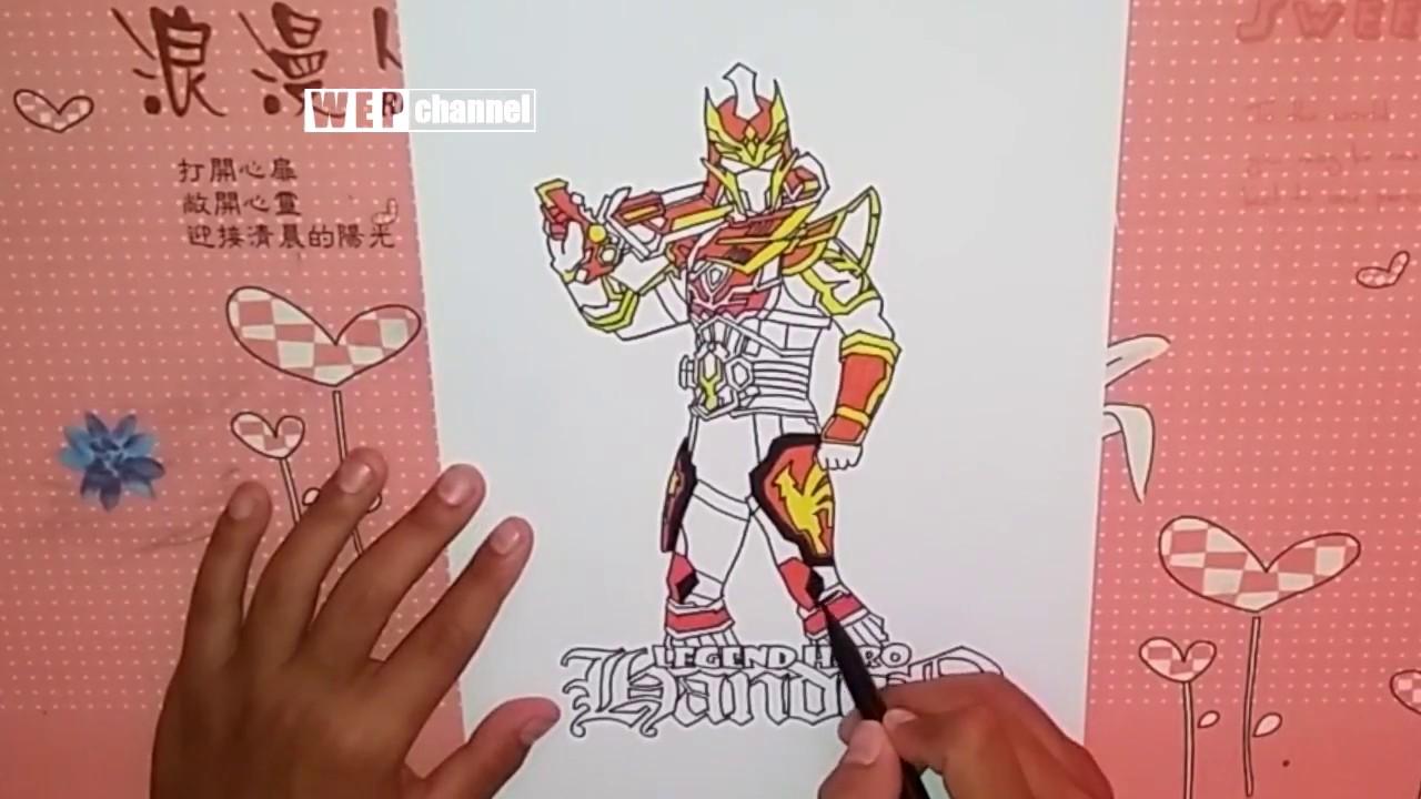 Menggambar Dan Mewarnai Legend Hero Handon Huyon Dengan Spidol