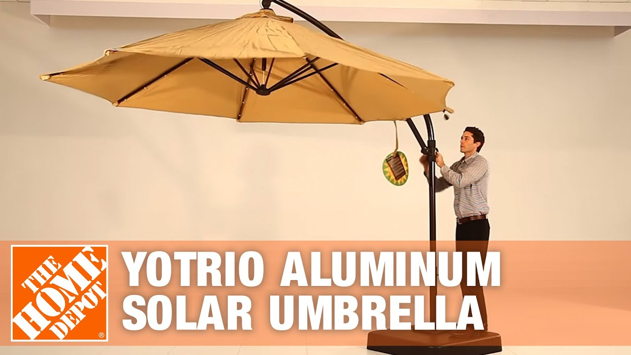 How To Assemble A Yotrio Aluminum Solar Umbrella The Home Depot Youtube