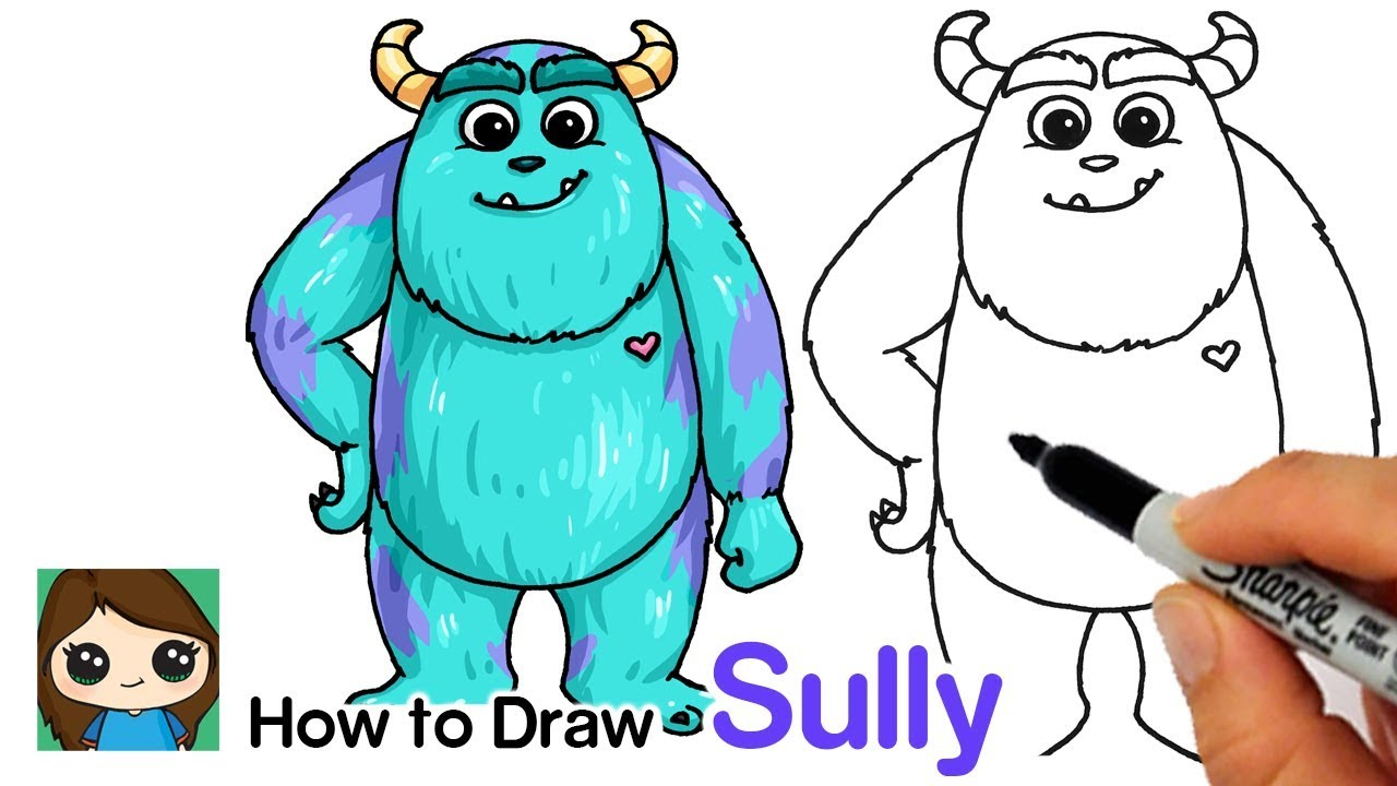 How To Draw Sulley Easy Monsters Inc Youtube