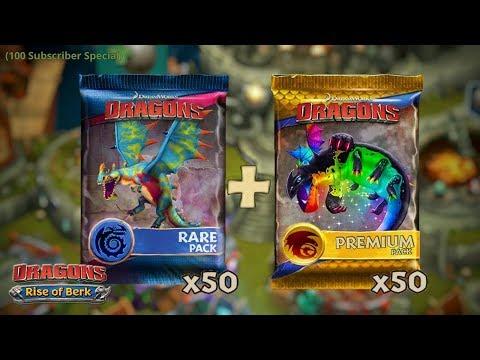 Buying 50 Rare Packs + 50 Premium Packs (100 Subscribers Special) | Dragons: Rise of Berk
