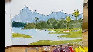 Seven Watercolor Sketch - Mauritius