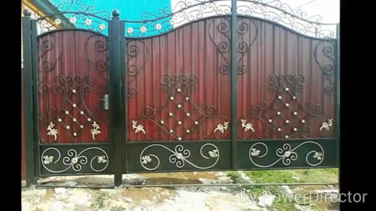 Ворота из профнастила с элементами ковки своими руками фото 696